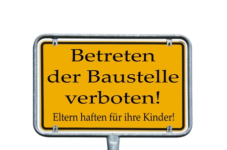 Sign with the german words Enter the site banned