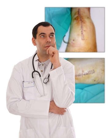 Doctor and pictures from a Knee surgery Stock Photo - 17073875