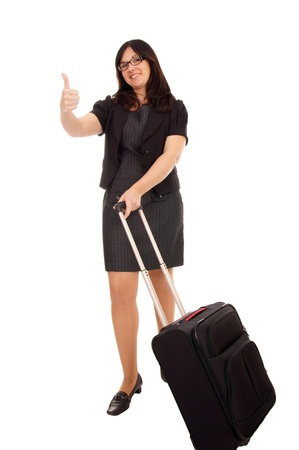 Business woman with suitcase and thumbs up Stock Photo - 17097935