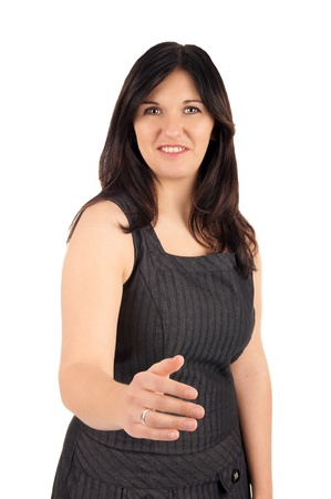 courteous: Business Woman - Contract with a handshake Stock Photo