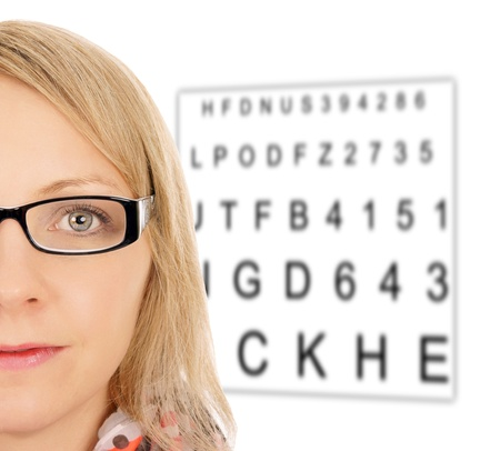 nearsighted: Woman with glasses and eye test panel