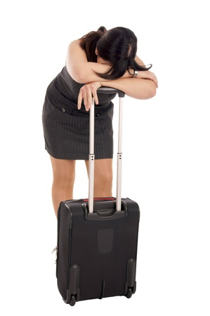 resolute: stressed business woman with suitcase