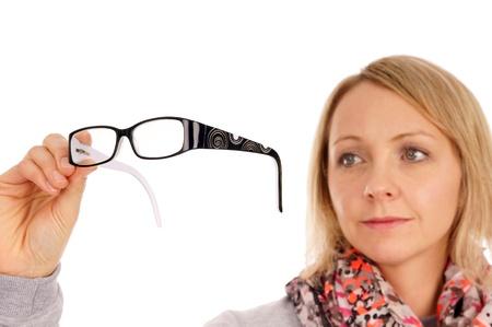 bifocals: Woman with glasses