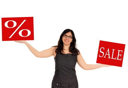 Woman with a sale sign photo