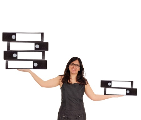 Business Woman with file folders photo