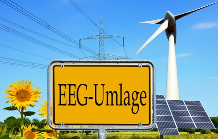 electricity tariff: renewable energies and a sign with the german word EEG levy Stock Photo