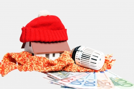 regulators: heating thermostat with banknotes and small house