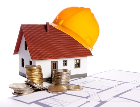 exempted: small house with a floor plan and euro money Stock Photo