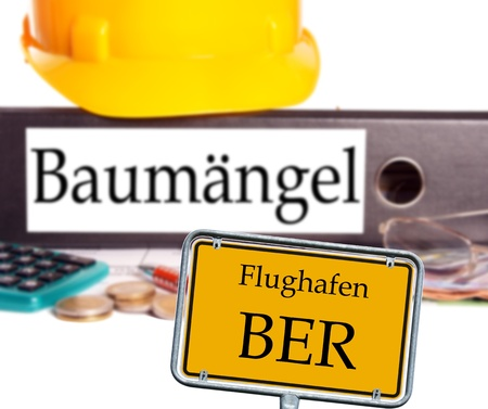 brandt: file folder with the german word Substandard and sign with the words airport BER Stock Photo