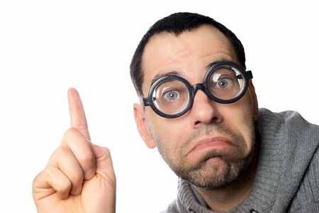 Man with funny glasses pointing up Stock Photo - 18034628