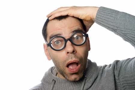 scandalous: shocked man with funny glasses Stock Photo