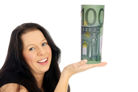 Woman with euro bill Stock Photo - 18257992