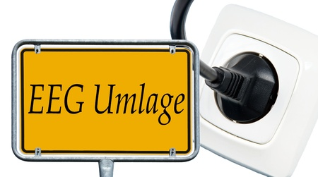 energy suppliers: socket and sign with the german wirds EEG levy Stock Photo