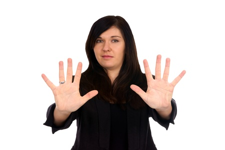 Woman holds up her hands Stock Photo