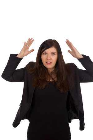 Woman holds up her hands Stock Photo - 18588028