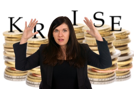 exempted female: Euro coins with the german word crisis and shocked woman Stock Photo