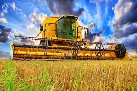 agricultural essence: Combine Harvester and sky with beautiful clouds