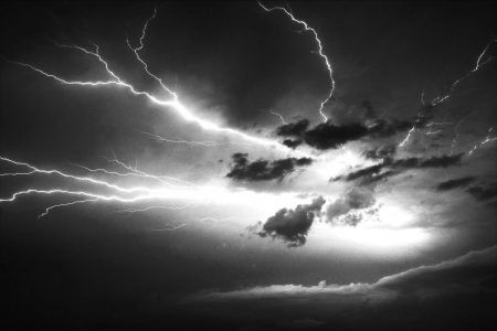 black sky with lightning storm Stock Photo - 18655233