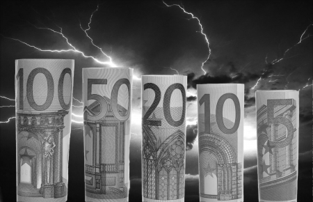 bad times: Thunderstorms and euro banknotes in black and white
