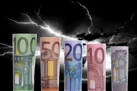 Thunderstorms and euro banknotes photo
