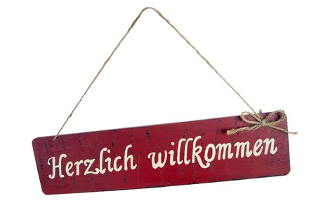 cordially: sign with the german words cordially welcome