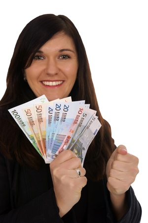 Woman with euro banknotes Stock Photo - 18752242