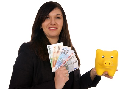 charisma: Woman with piggy bank and euro banknotes Stock Photo