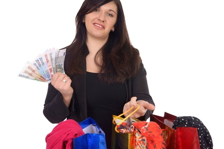 geldschein: young woman with shopping bags and euro banknotes