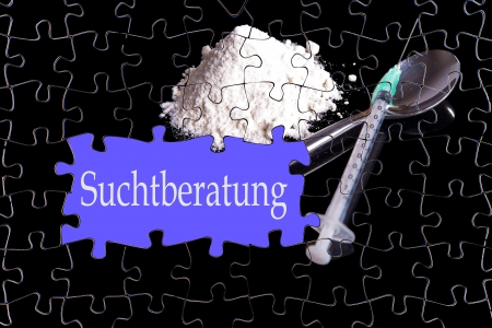 drug trafficking: Puzzle with the german words Addiction Treatment