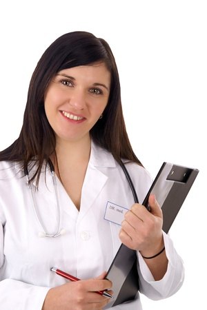 charisma: young doctor with stethoscope and writing board Stock Photo