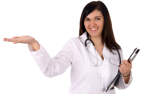 young doctor with stethoscope holds up her empty hand photo