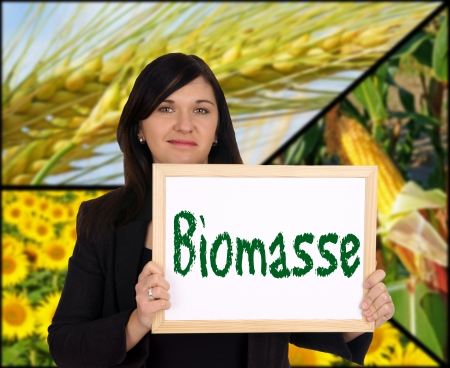 Woman with sign and the german word biomass photo