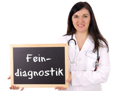 developmental disorder: Doctor with sign and the german words fine diagnosis