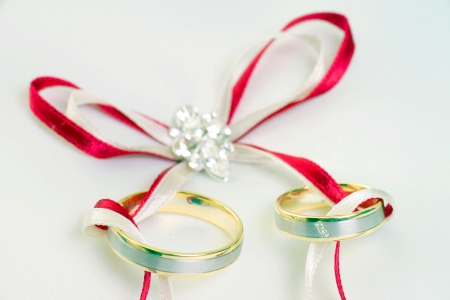 Wedding Rings and Ring Pillow photo