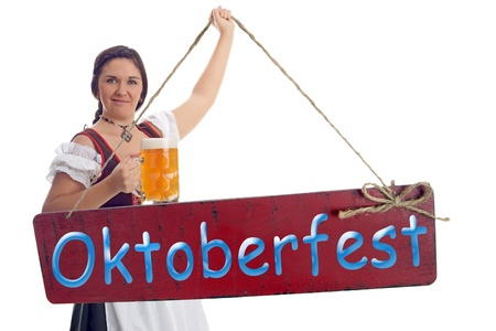 pretty women with Beer Stein and plate - Oktoberfest Stock Photo - 19263288