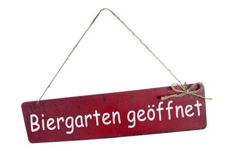 coziness: sign with the german words beer garden open Stock Photo