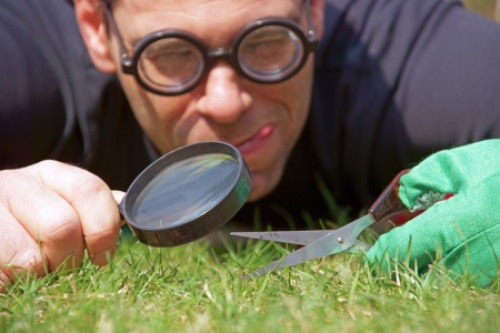 Man with scissors and magnifying glass cultivates the lawn Standard-Bild