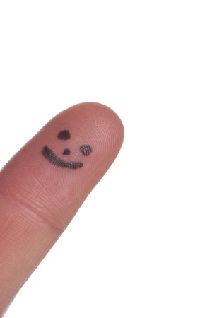 Index finger with face Stock Photo - 19552431