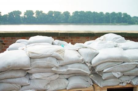 flood area: Flood protection with sandbags Stock Photo