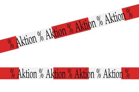 cordon tape: cordon tape with the german word Aktion
