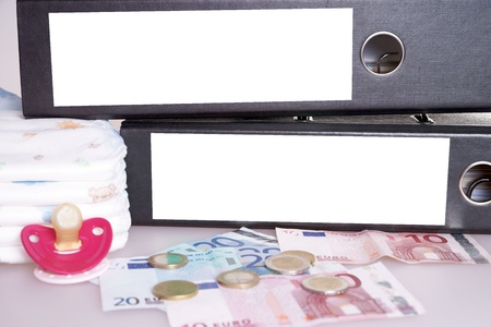 teats: file folders with euro money and pacifier