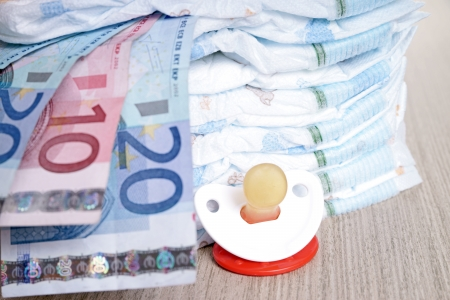 teats: Baby Diapers with euro banknotes and pacifier