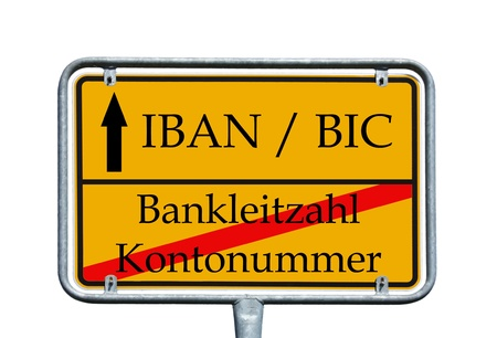 sign with the german words Account number, bank code and IBAN, BIC