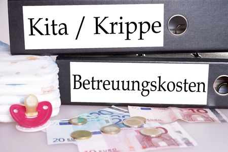 kita: file folders with the german words nursery school, creche and childcare costs