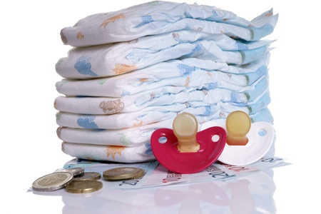 teats: Baby Diapers with euro money and pacifier