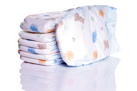 baby diapers over a reflective underground