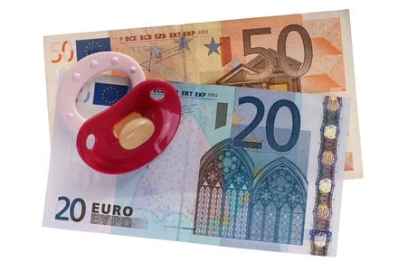 teats: pacifier and euro banknotes isolated over a white background