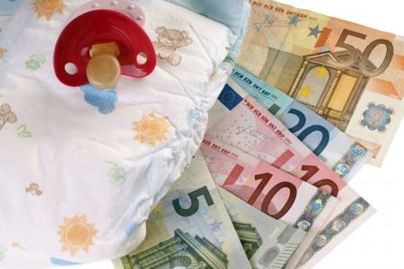 teats: Baby diapers with pacifiers and euro money