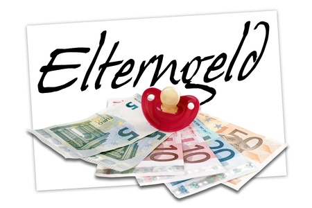 teats: the german word parents money and euro money with pacifier