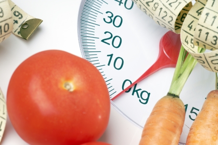 Vegetables with measuring tape on a Body Scale photo